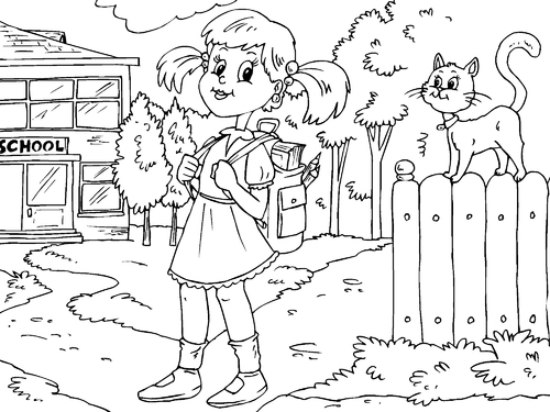 Girl To School Coloring Child Coloring