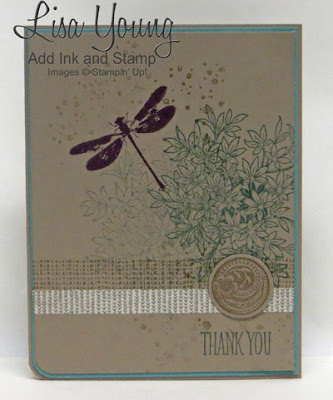 Stampin' Up! Awesomely Artistic. Clean and Simple card. Handmade thank you card by Lisa Young, Add Ink and Stamp