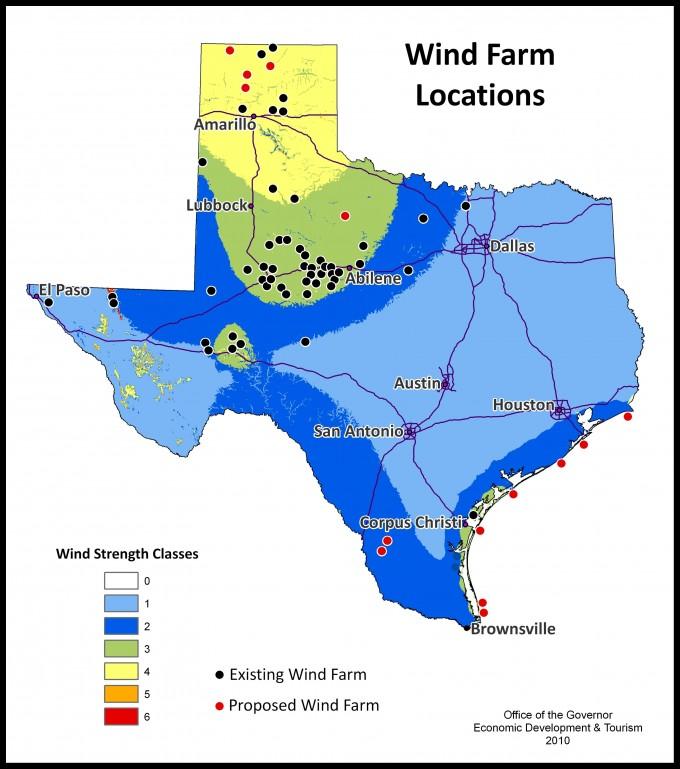 Texas Wind Farms Map