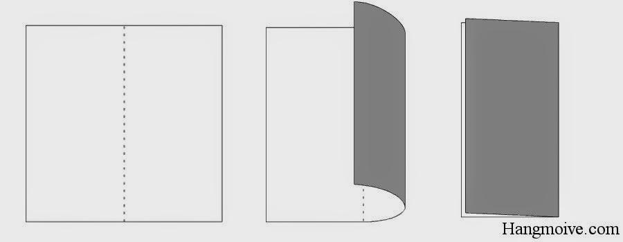 Bước 1: Gấp đôi tờ giấy lại theo chiều từ phải sang trái, sau đó lại mở giấy ra. Mục đích để tạo nếp gấp.