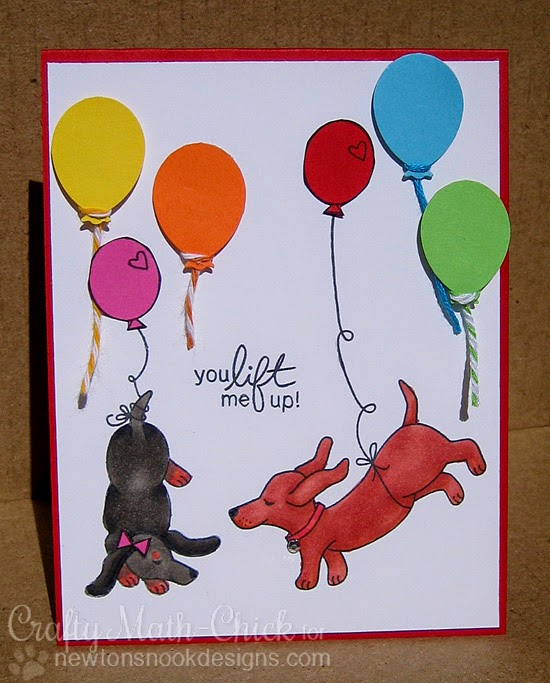 Dachshund couple  with Balloons Card by Crafty Math-Chick  | Delightful Doxies Stamp set by Newton's Nook Designs
