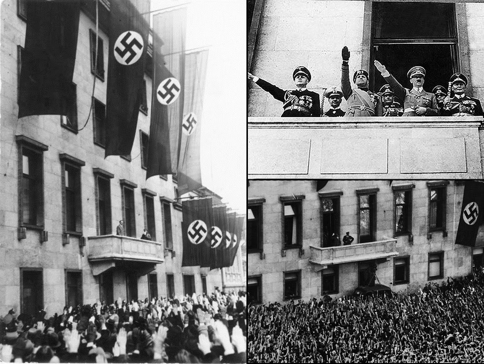 Hitler standing on the balcony.