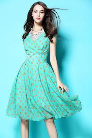 New 2016 Mint Green Orange Polka Dot Flare Chiffon Dress