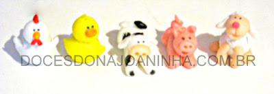 Docinhos modelados Bichinhos da Fazendinha: vaca, pato, galinha, ovelha e porquinho
