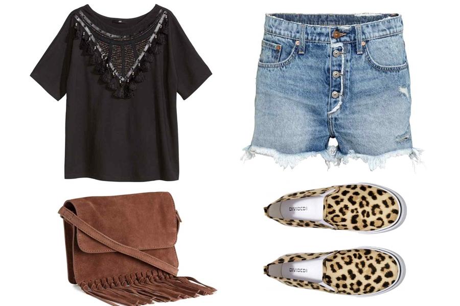 stylizacja z szortami, stylizacja z slip on, stylizacja z torebką z frędzlami, stylizacja z czarną koszulką gosiabaszak.com