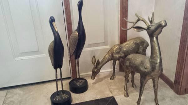 Cranes And Brass Deer   $75 Obo