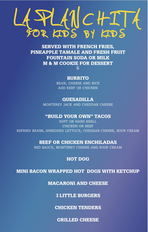 La plancha mexican grill and tequila bar for Bar food la menu
