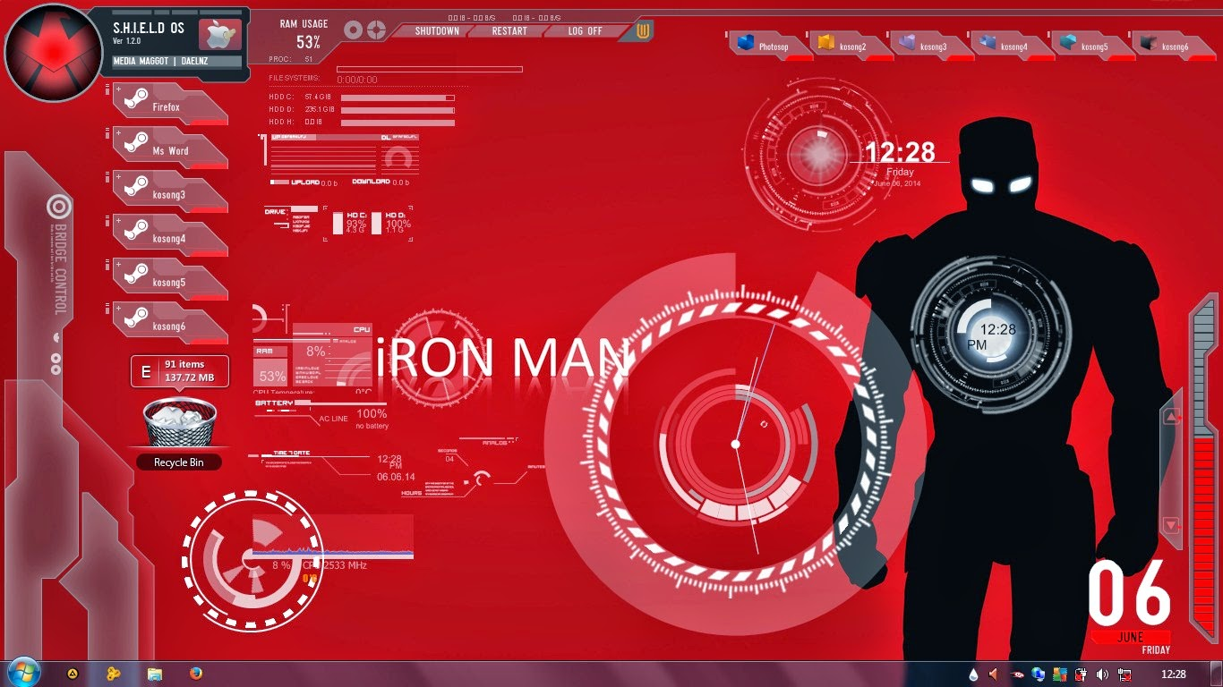 Download skin Rainmeter Ironman