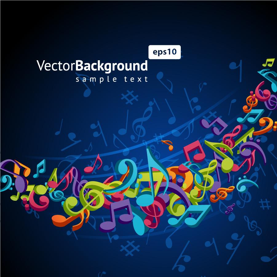 躍動的な音符の背景 color music key symbols イラスト素材