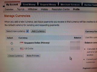 Paypal, change primary currency