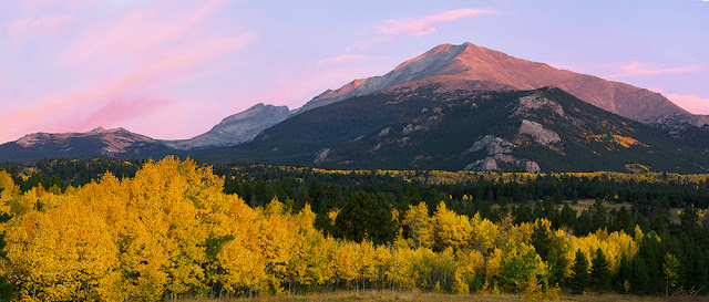 Mt. Meeker Pagoda and Mount Alice at sunrise in Autumn panoramic