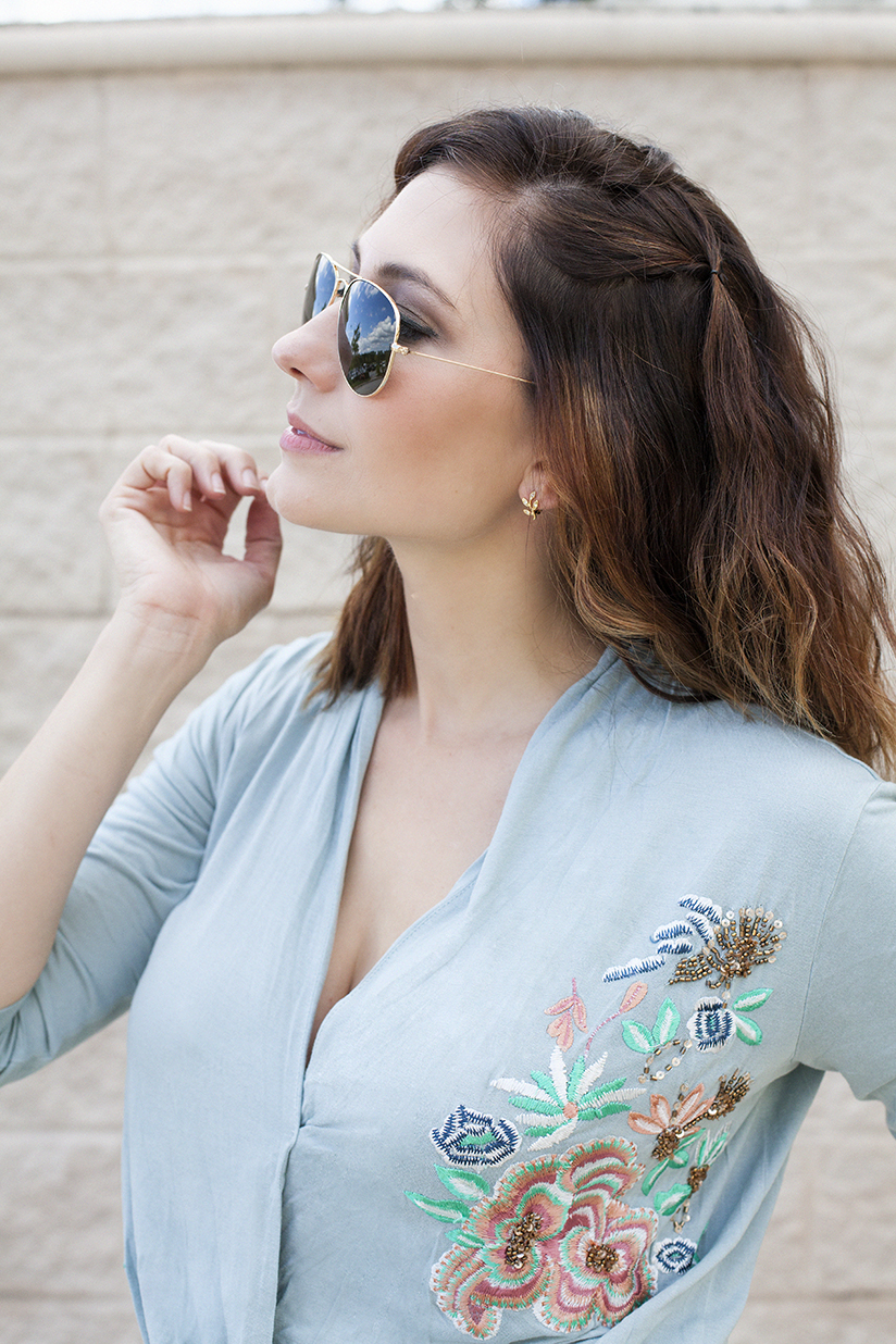 Amy West in Ray-Bans