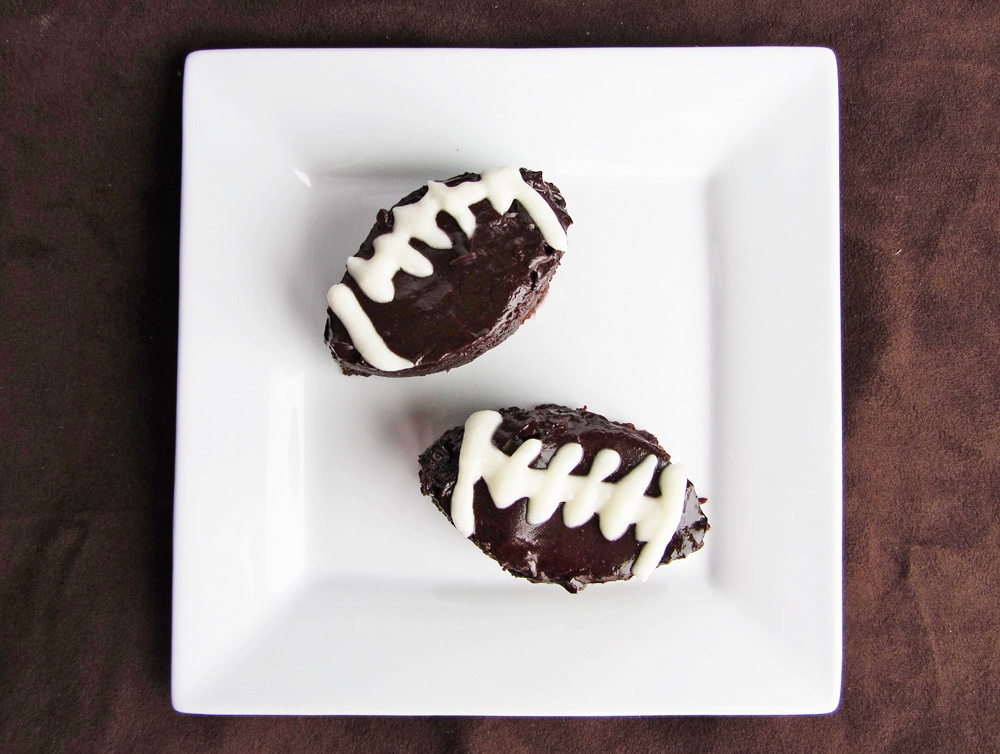 football shaped chocolate stout brownies