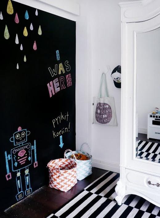 cuarto infantil con pared pintada de pizarra