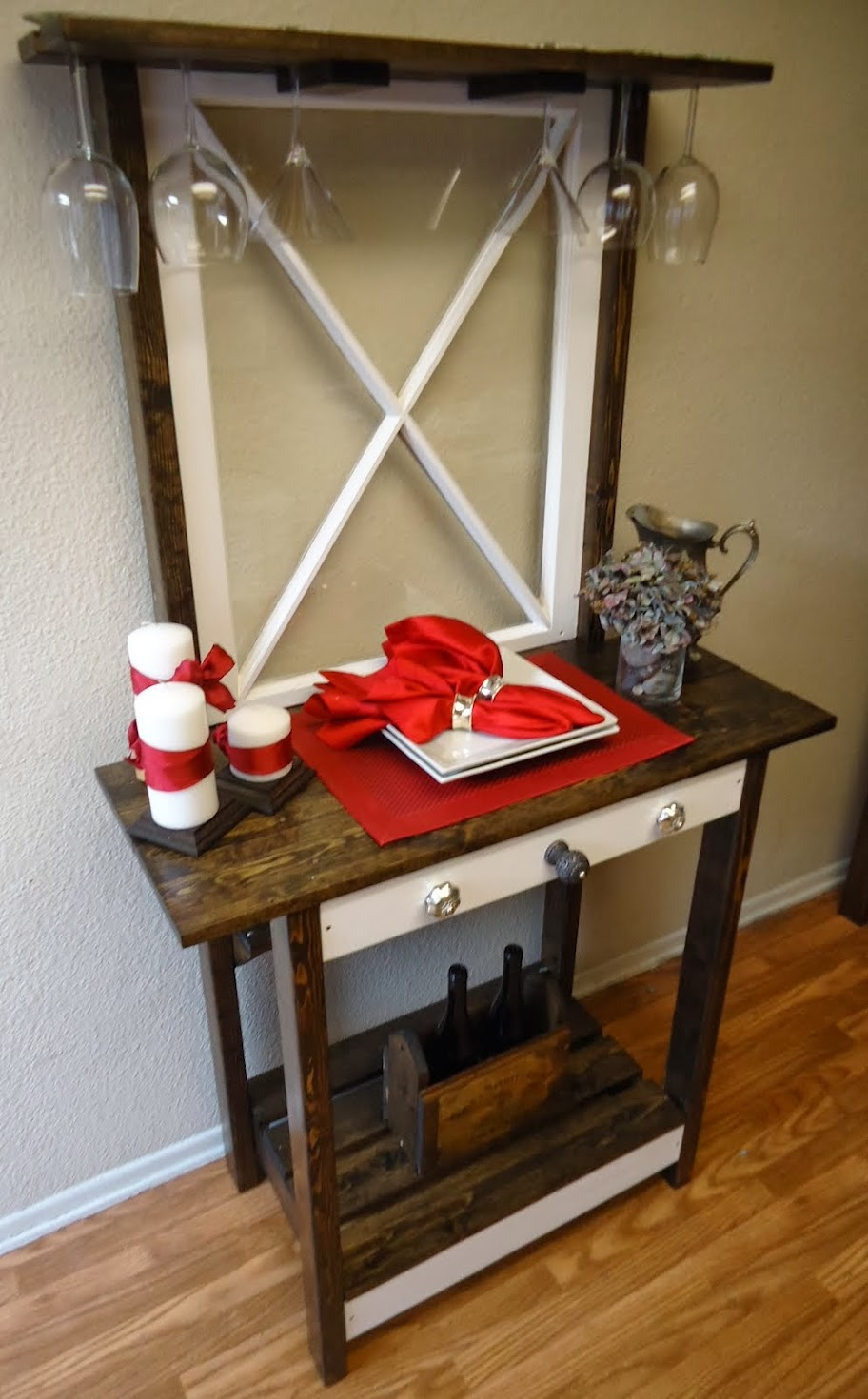 Vintage Criss Cross Window Accent Table - SOLD