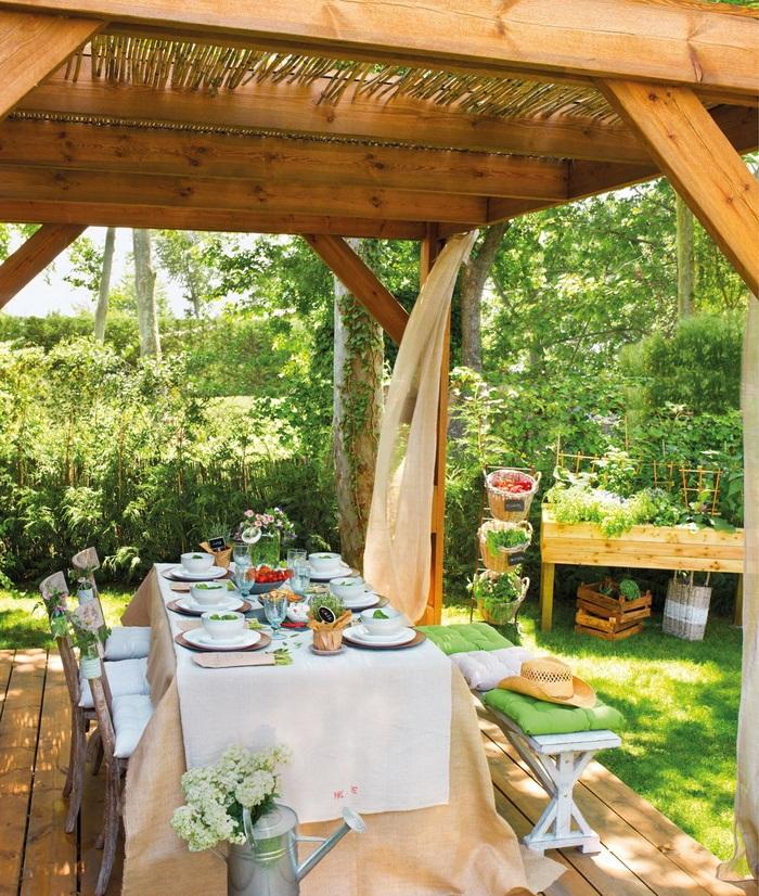 Estilo rustico pergolas para patios rusticos - Azulejos rusticos para patios ...
