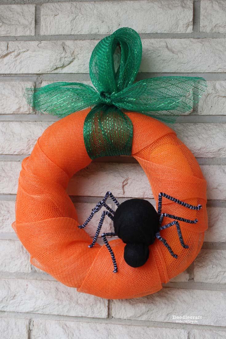 pumpkin spider halloween wreath