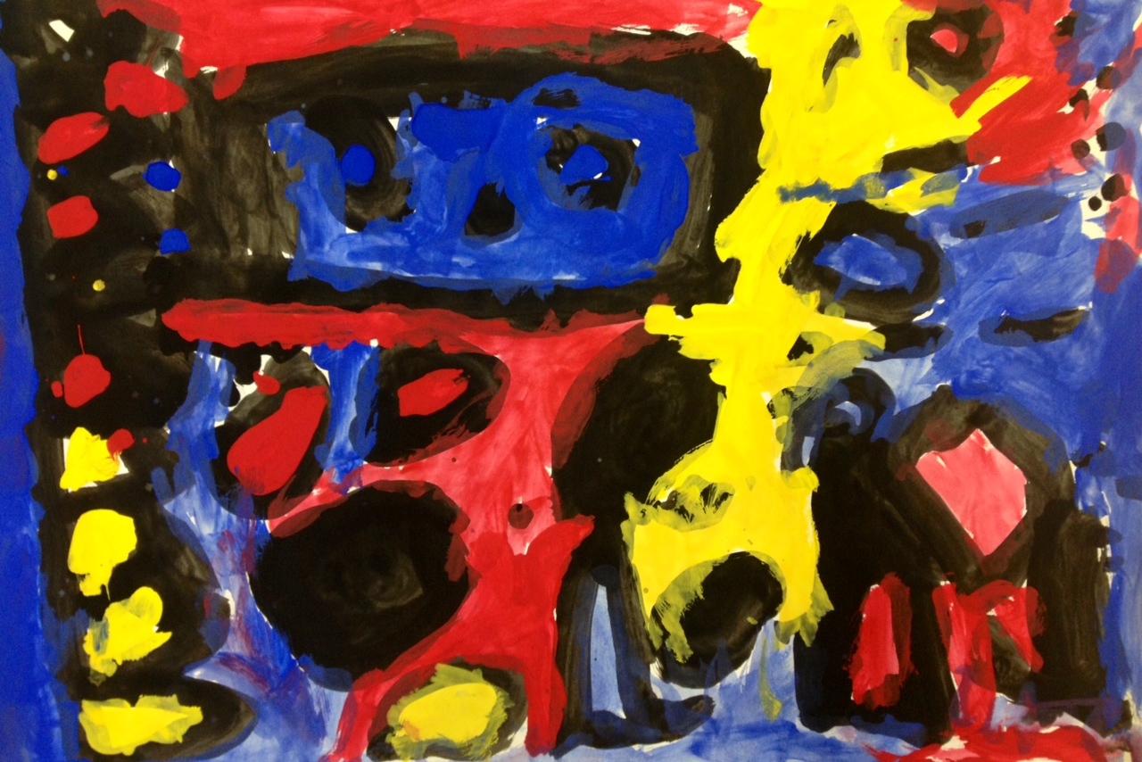 art at hosmer abstract painting with primary colors