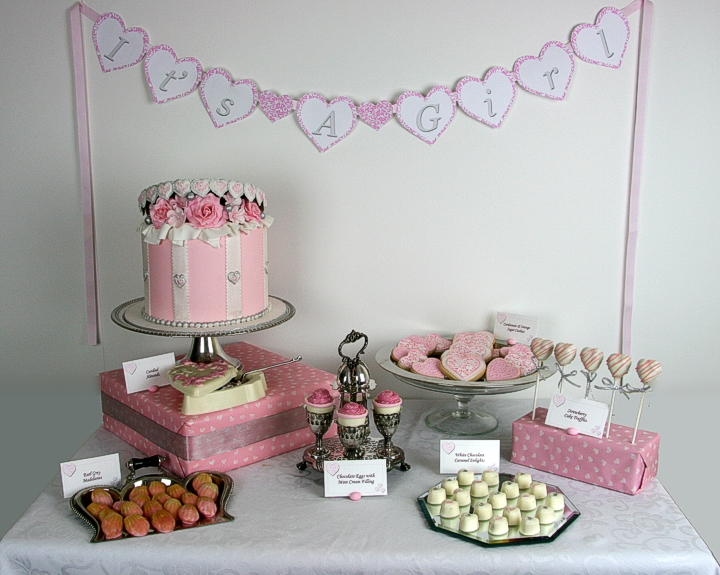 confectionary designs it 39 s a girl baby shower dessert table