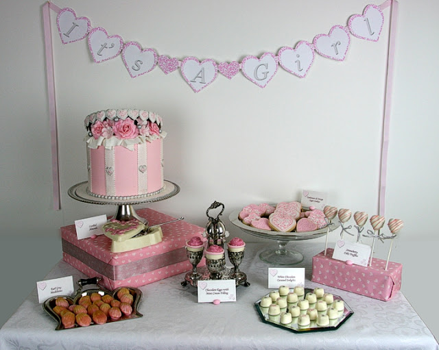 """It's A Girl"" Baby Shower Dessert Table"