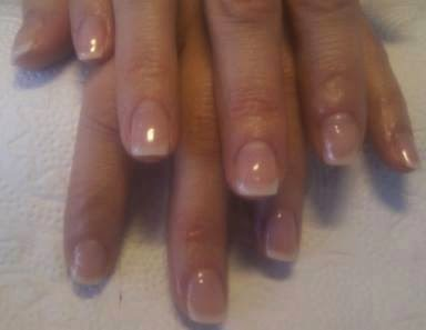 Acrylic sculpts hard gel nails with silver french acrylics and LED polish acrylics LED polish and stones- acrylic back-fill  grey French with painted bows and silver glitz feat nails