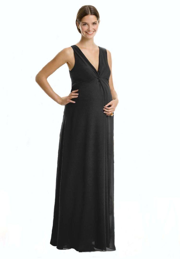 Chiffon V-neck Empire A-line Long Maternity Bridesmaid Dress