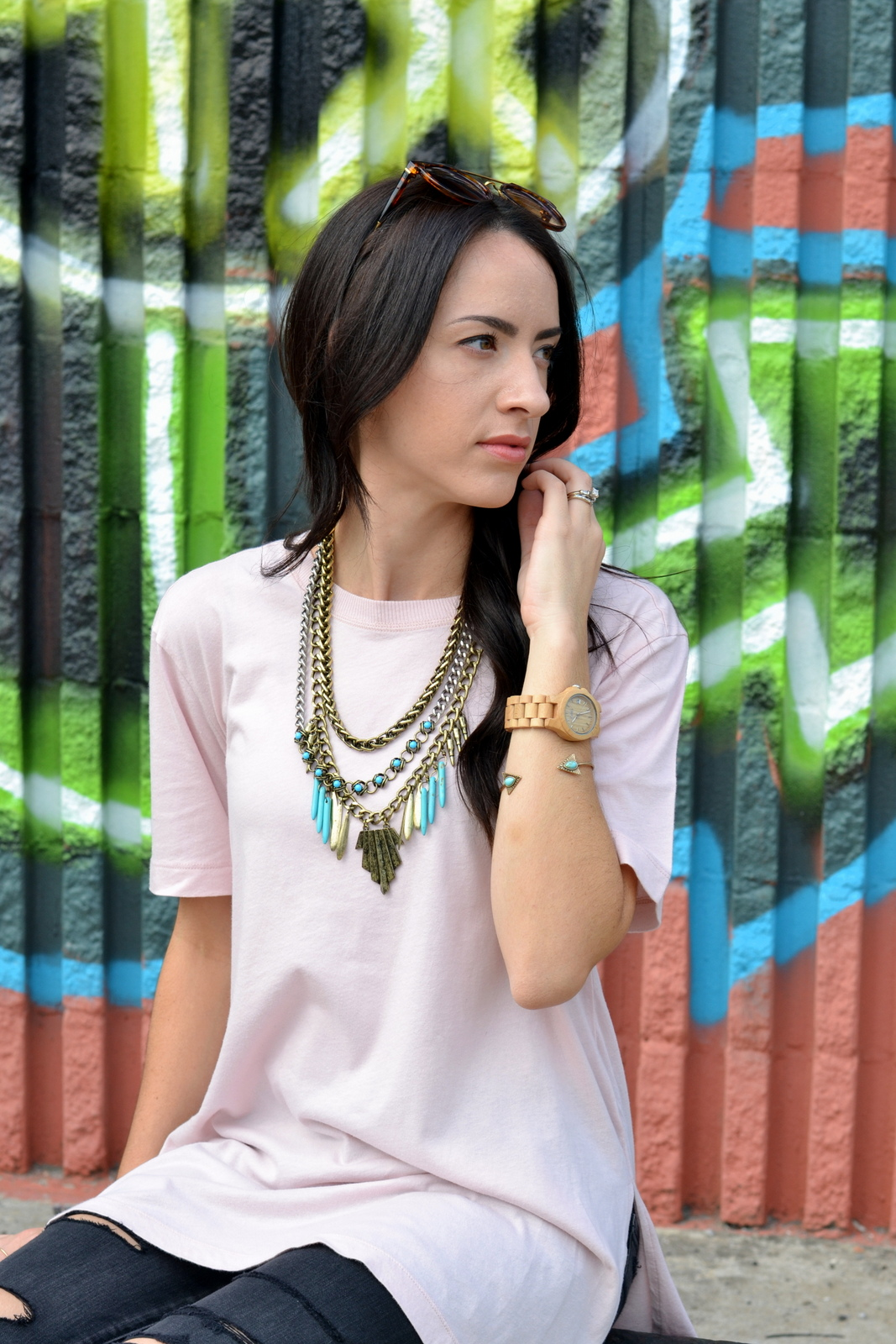 Loose Tee, Oversized Tee, Statement Necklace