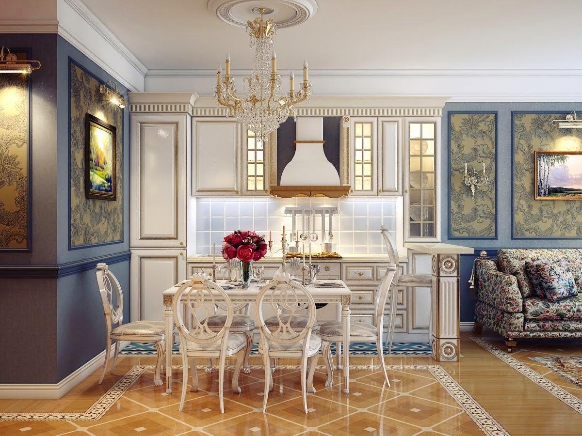 Un coin repas chic et élégant pour compléter le style classique de l'intérieur