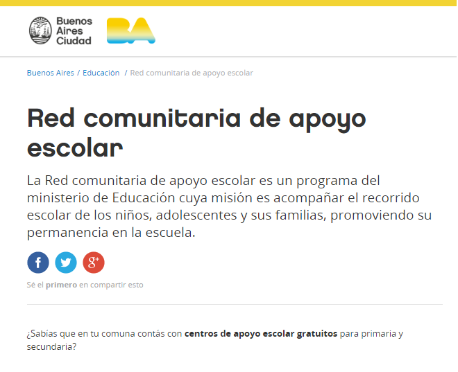 Centros de apoyo escolar gratuitos. Biblioteca Artigas. Navarro 2544