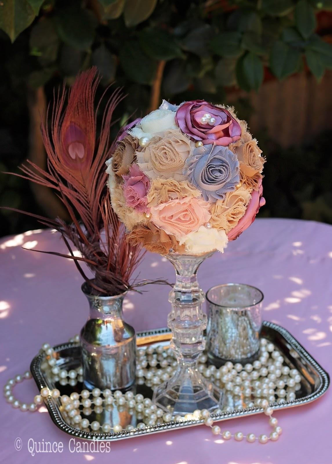 Diy fabric flower topiary centerpiece idea inspiration