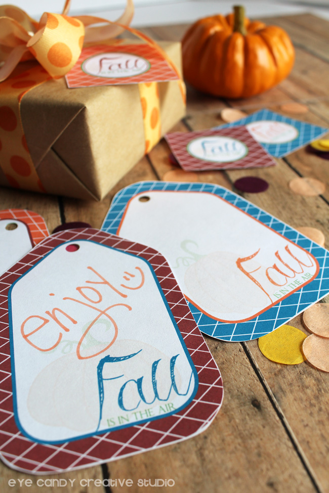 enjoy, gift taks for fall, confetti, fall is in the air, blue, orange, burgundy