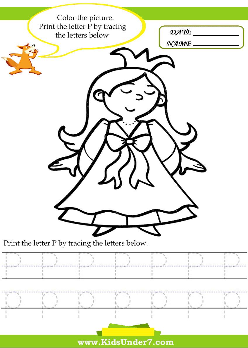 worksheet Letter P Worksheets For Preschool kids under 7 alphabet worksheets trace and print letter p
