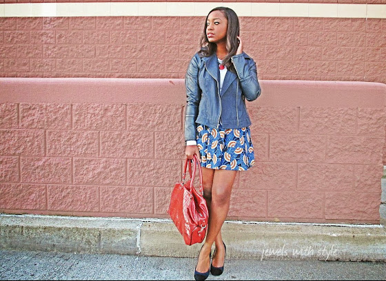 M Renee Design, fashion blogger, forever 21 skirt, handmade jewelry, faux leather jacket,leather jacket, jewels with style, black fashion blogger