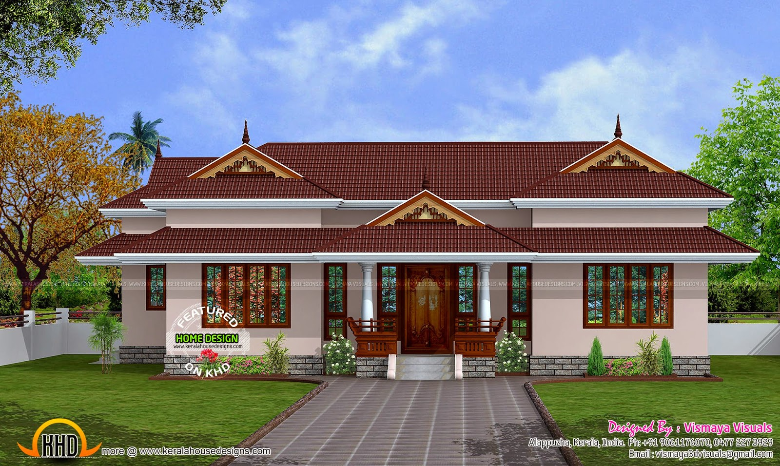 1400 square feet small budget house kerala home design for Small traditional home plans