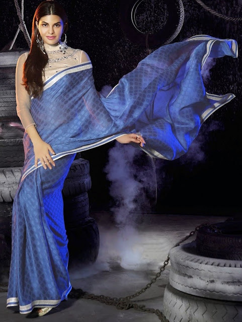 Blue Georgette Bollywood Stylish Saree With A Designer Art Silk Blouse