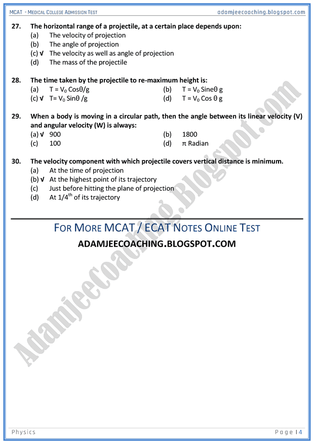 mcat-physics-projectile-motion-mcqs-for-medical-entry-test