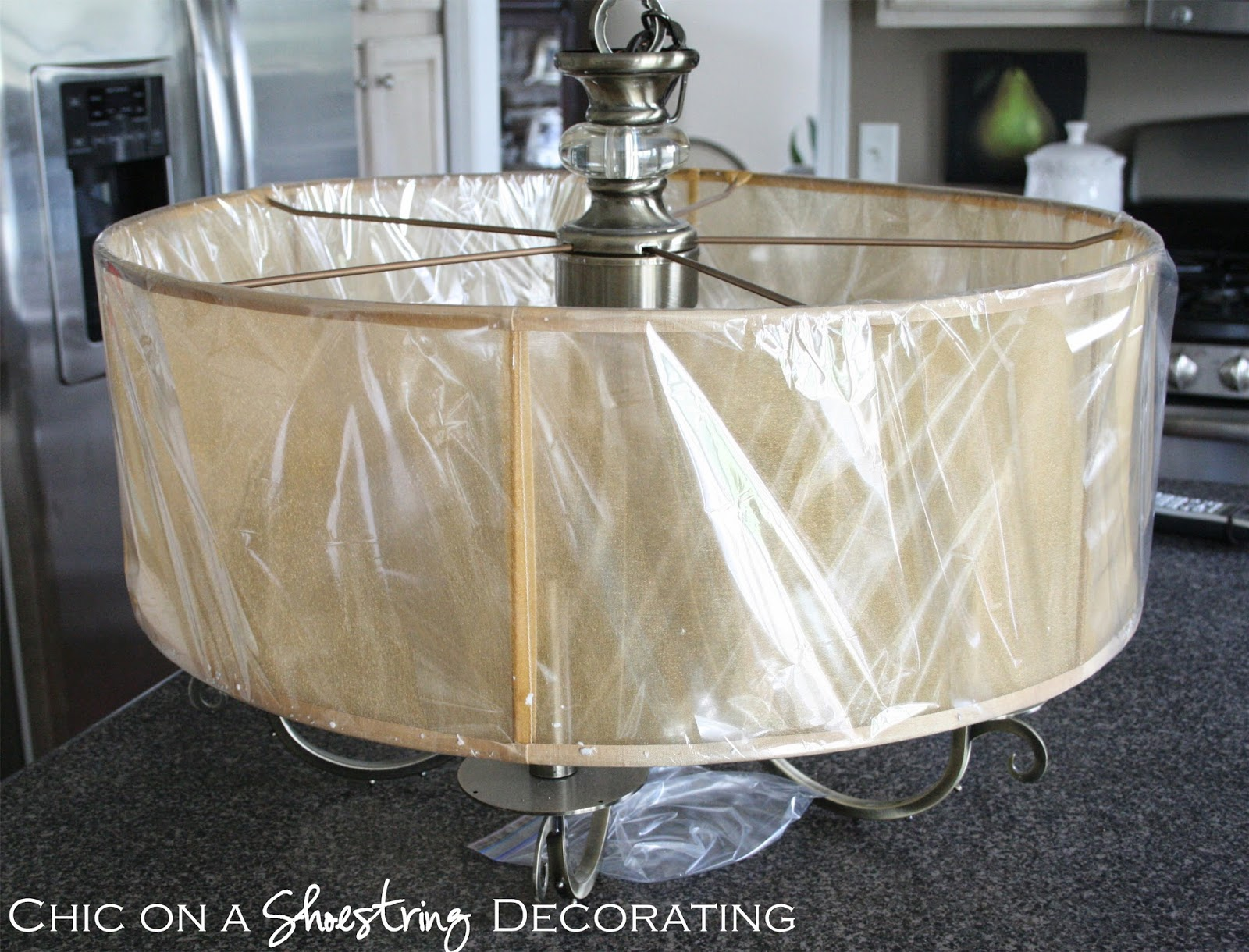 chandelier before, chic on a shoestring decorating blog