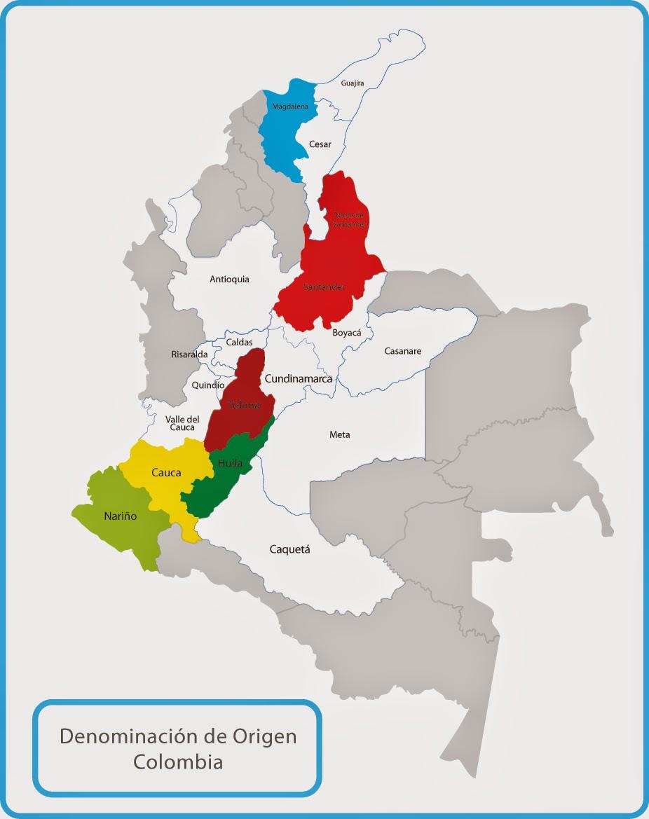 Mapas de las zonas de producción de Café Colombia.