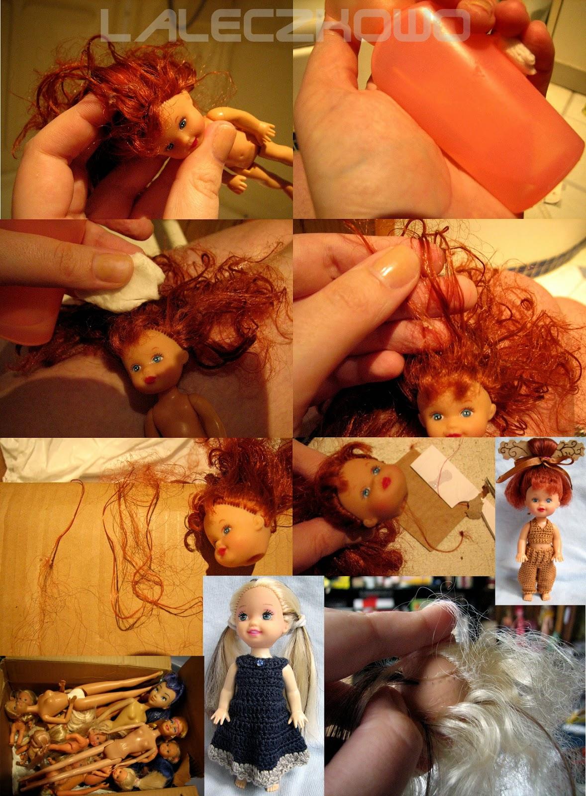 ludzkie włosy na głowie lalki, jak usunąć klej z włosów lalki, jak uzupełnić ubytki włosów lalki