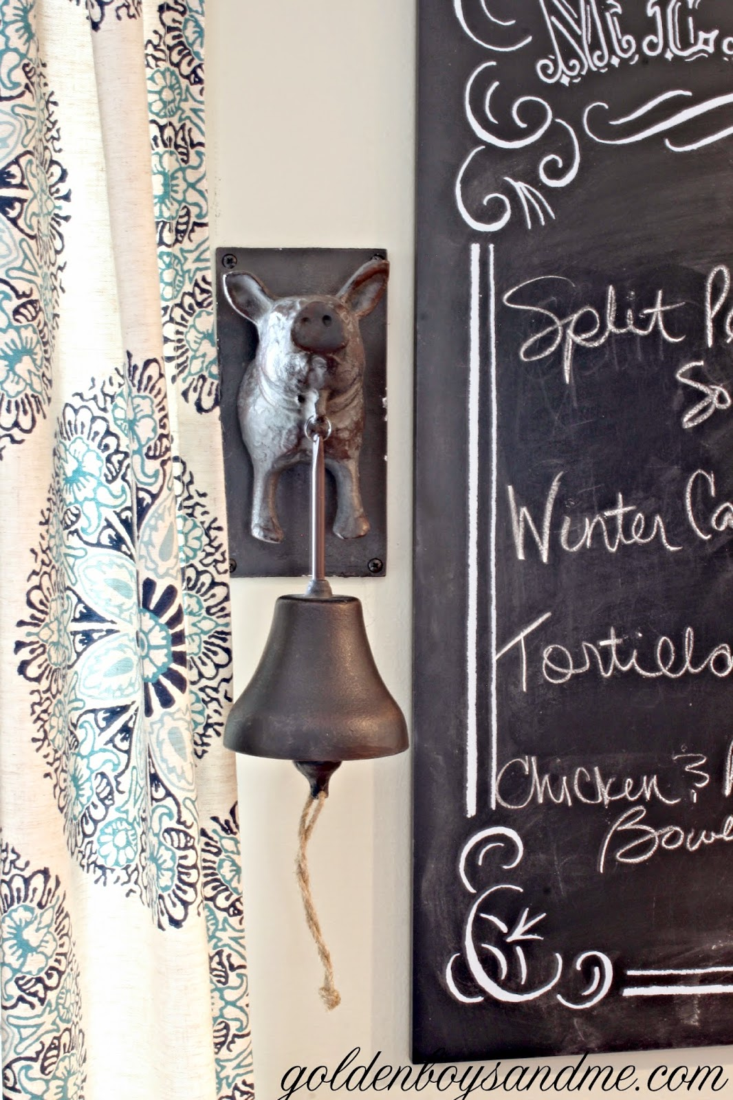 Pottery Barn iron pig dinner bell in country kitchen-www.goldenboysandme.com