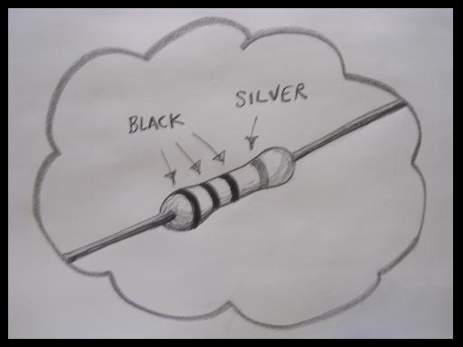 Black-black-black-silver colour-coded resistor