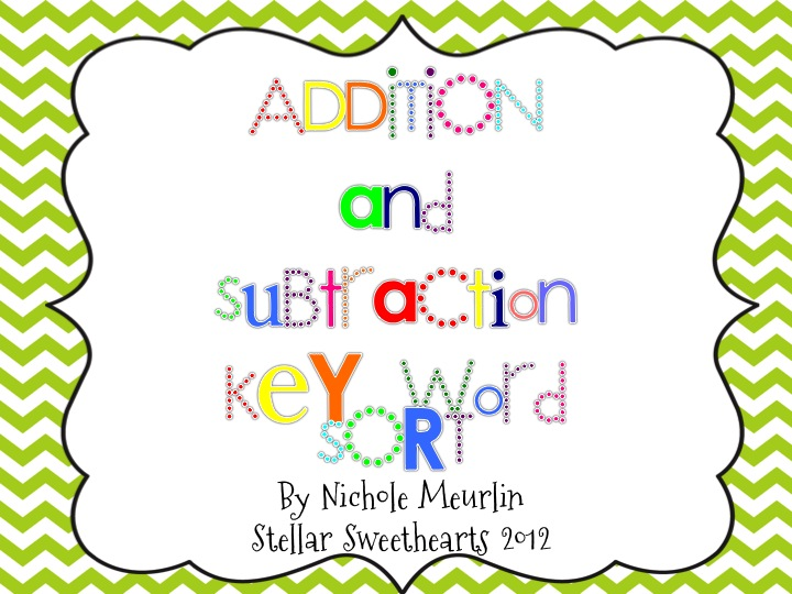 ... here to download the { Addition and Subtraction Key Word Sort } file