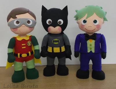 Batman, Robin e Coringa em feltro para decoração de festa infantil