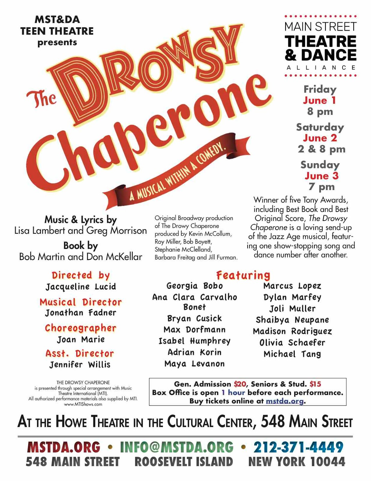 MST&DA Teen Theatre Presents The Drowsy Chaperone, A Musical Within A Comedy