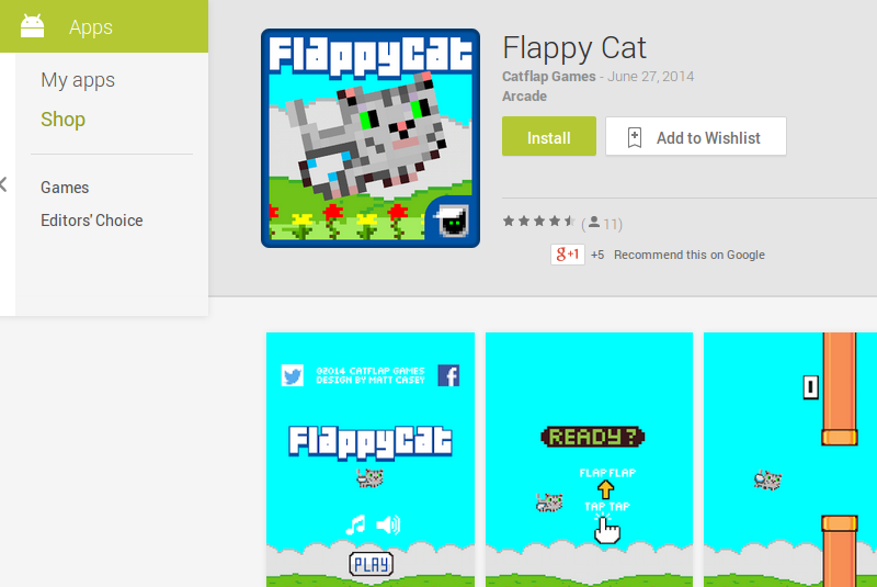 Juego Flappy Cat en Google Play
