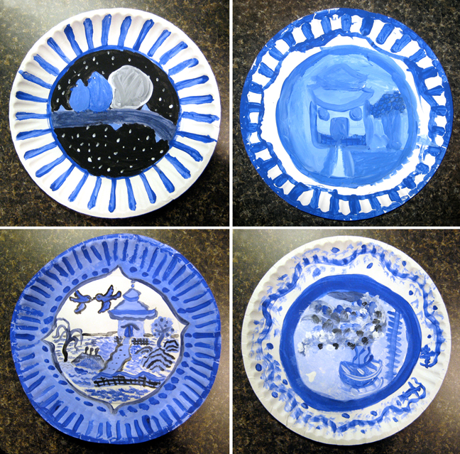 We looked at a piece of Blue Willow china and discussed what images we saw on the plate. I then told the children about the legend which the pattern ... & My Adventures In Positive Space: Blue Willow Plates in Tempera