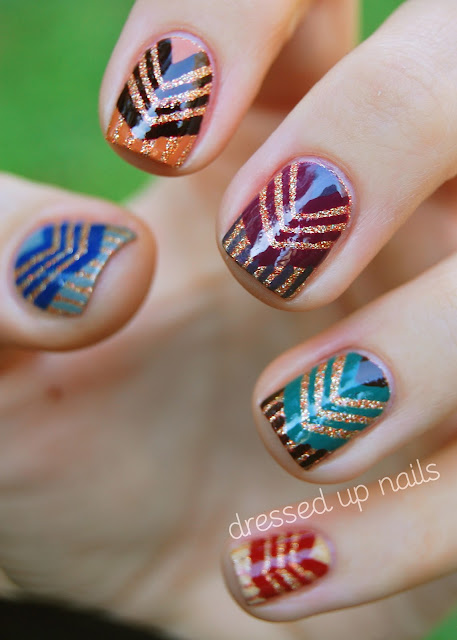 China Glaze On Safari chevron nail art