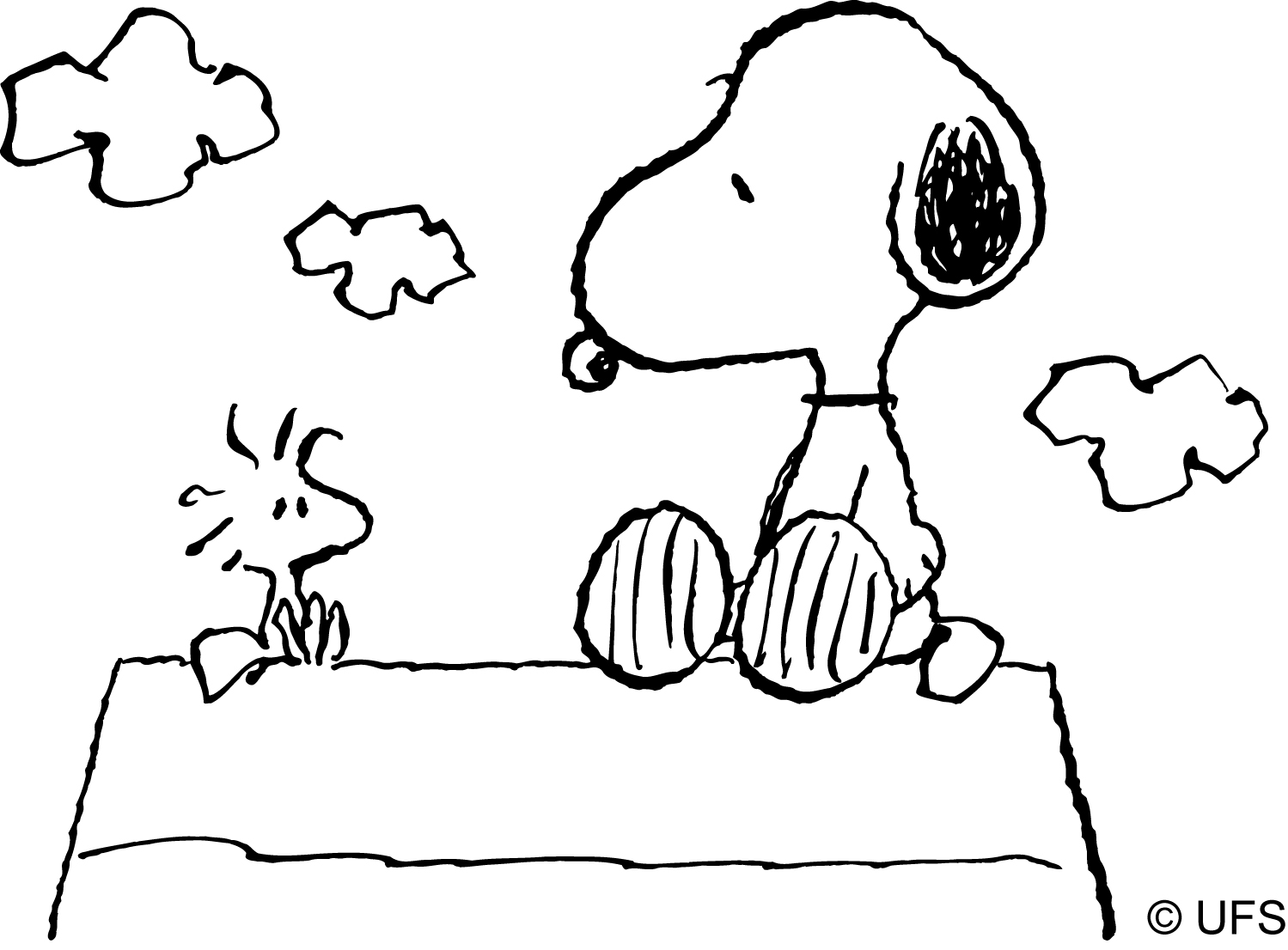 snoopy woodstock christmas coloring pages - photo#13