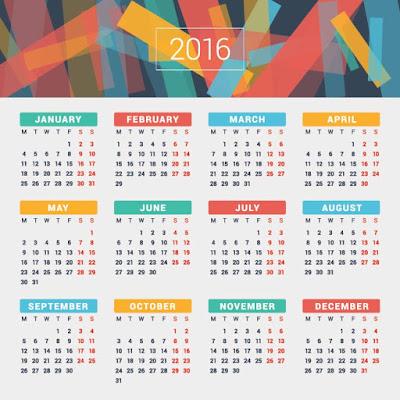 new year calendar 2016