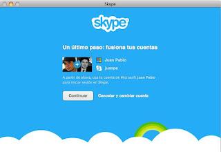Aviso de fusión de cuentas Messenger+Skype